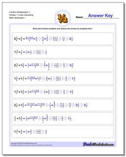 Fraction Worksheet Multiplication Worksheet 1 Wholes + Cross Cancelling Multiplying Fractions