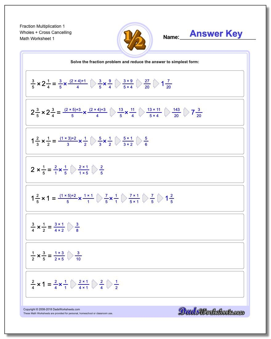 Fraction Worksheets Multiplication Worksheets 1 Wholes + Cross Cancelling Multiplying Fractions