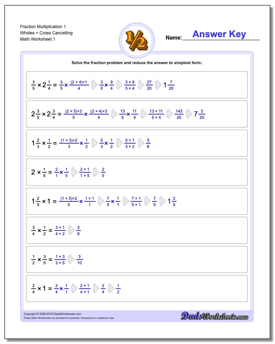 Fraction Worksheet Multiplication Worksheet 1 Wholes + Cross Cancelling Multiplying Fractions