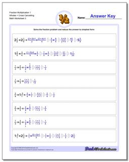 Fraction Worksheet Multiplication Worksheet 1 Wholes + Cross Cancelling