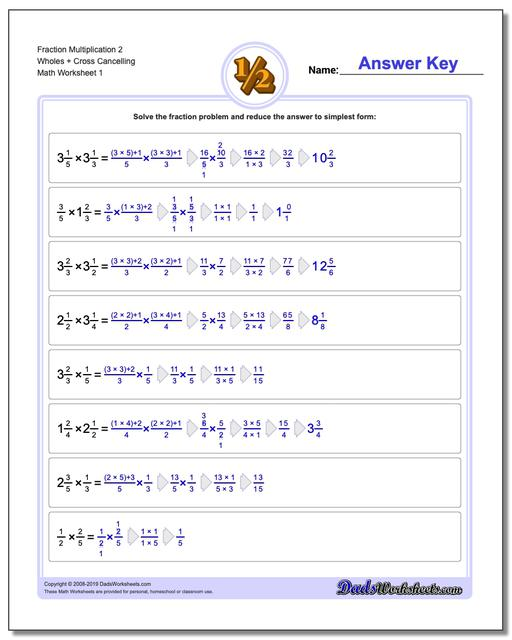 Fraction Worksheets Multiplication Worksheets 2 Wholes + Cross Cancelling Multiplying Fractions