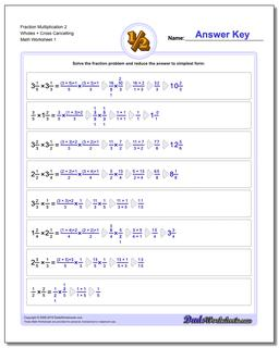 Fraction Worksheet Multiplication Worksheet 2 Wholes + Cross Cancelling Multiplying Fractions