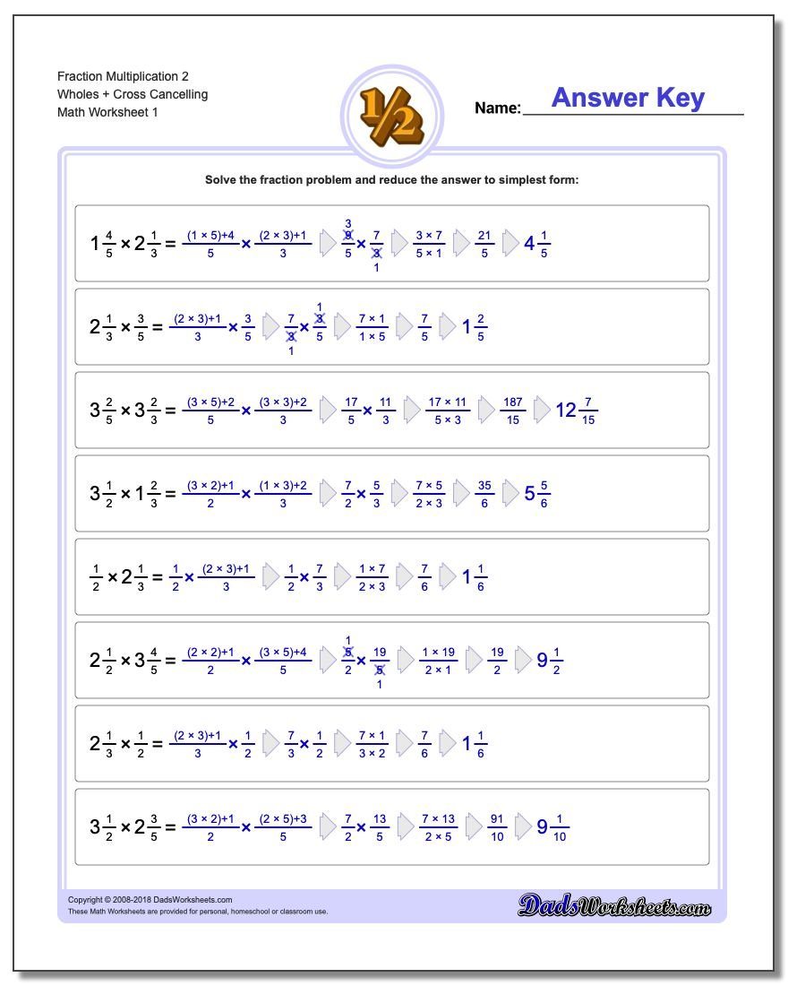Full Fraction Multiplication – Math Worksheets Multiplying Fractions