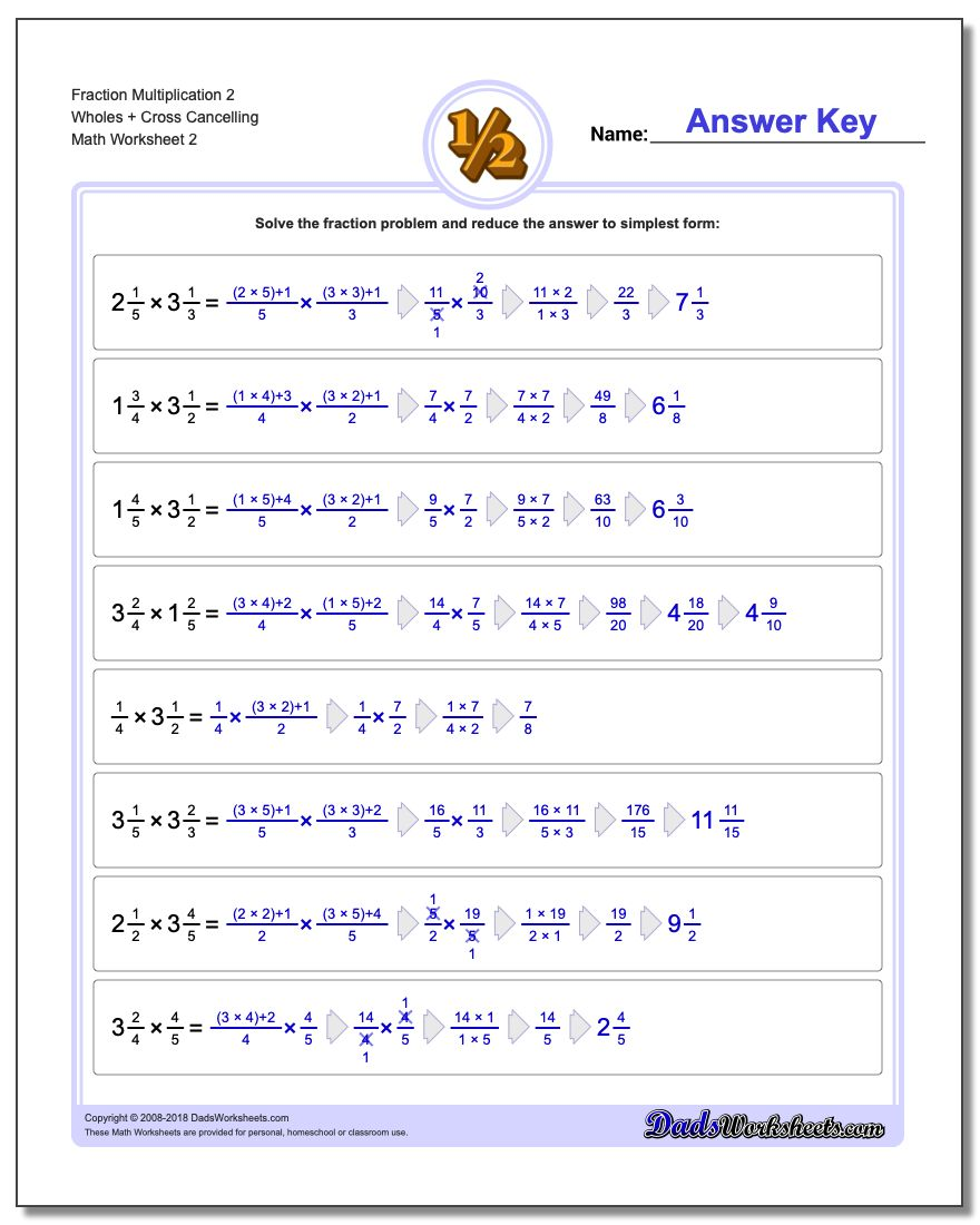 Fraction Worksheet Multiplication Worksheet 2 Wholes + Cross Cancelling www.dadsworksheets.com/worksheets/fraction-multiplication.html
