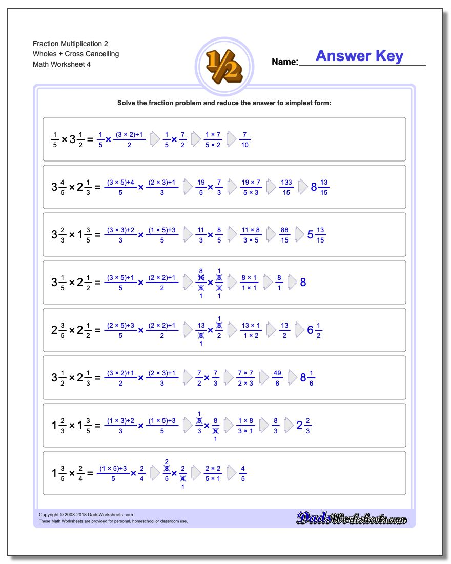 Fraction Worksheet Multiplication Worksheet 2 Wholes + Cross Cancelling