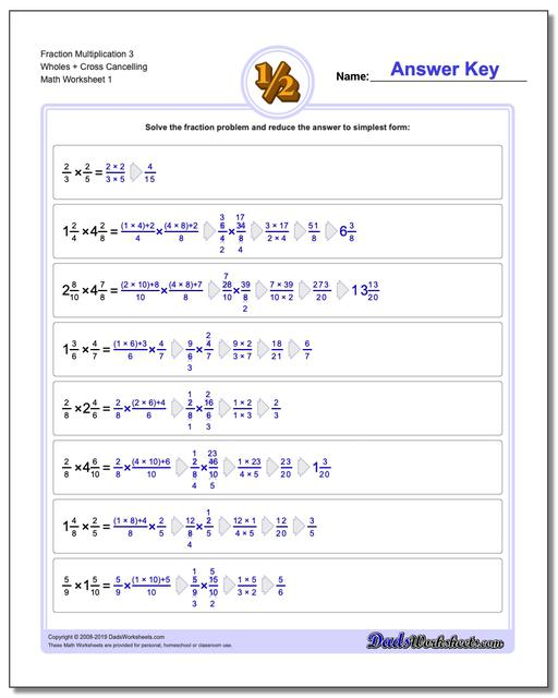 Fraction Worksheets Multiplication Worksheets 3 Wholes + Cross Cancelling Multiplying Fractions
