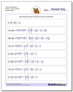 Fraction Worksheet Multiplication Worksheet 3 Wholes + Cross Cancelling Multiplying Fractions