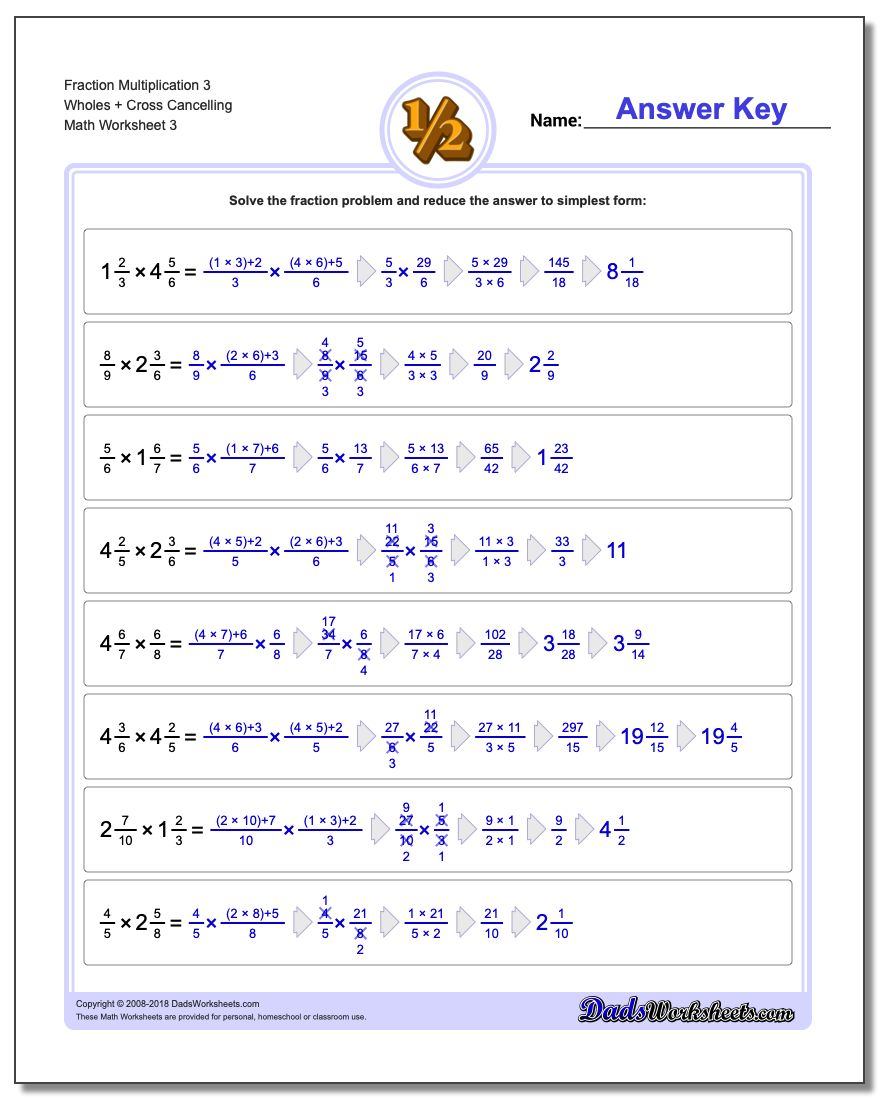 Fraction Worksheet Multiplication Worksheet 3 Wholes + Cross Cancelling