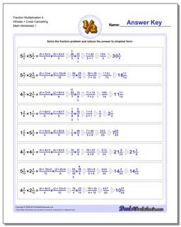 Fraction Worksheet Multiplication Worksheet 4 Wholes + Cross Cancelling Multiplying Fractions