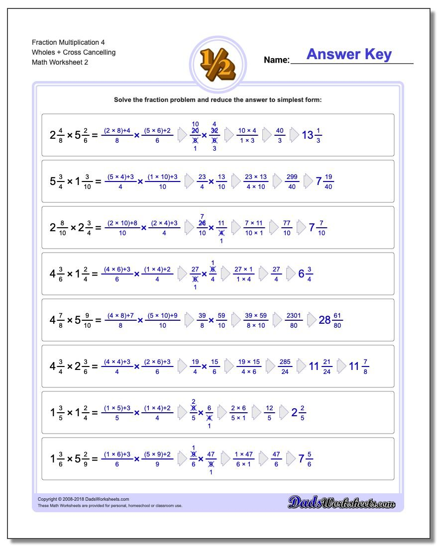 Fraction Worksheet Multiplication Worksheet 4 Wholes + Cross Cancelling www.dadsworksheets.com/worksheets/fraction-multiplication.html