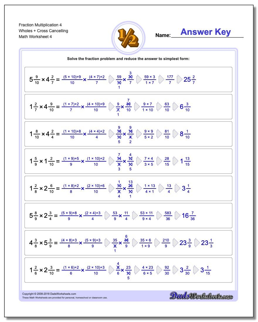 Fraction Worksheet Multiplication Worksheet 4 Wholes + Cross Cancelling