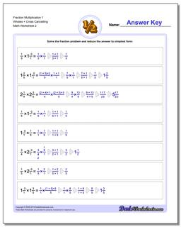 Fraction Worksheet Multiplication Worksheet 1 Wholes + Cross Cancelling www.dadsworksheets.com/worksheets/fraction-multiplication.html