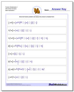Fraction Worksheet Multiplication Worksheet with Wholes