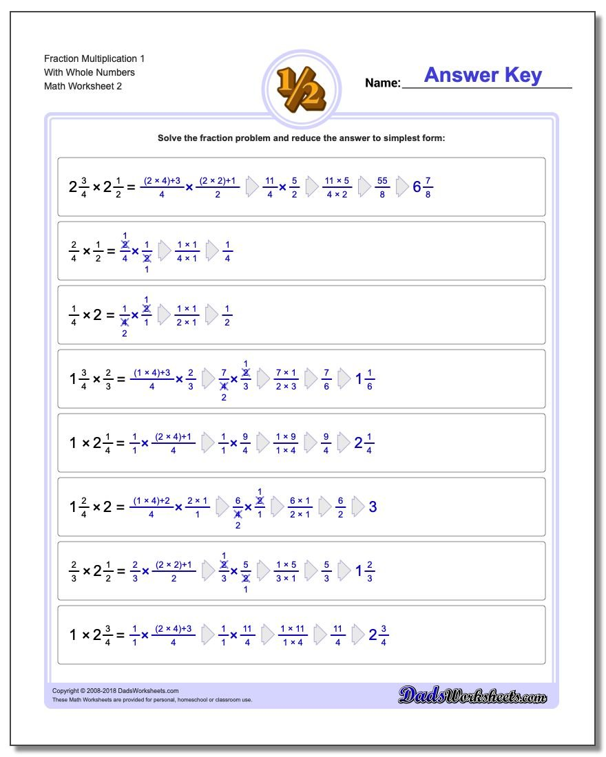 Fraction Worksheet Multiplication Worksheet 1 With Whole Numbers www.dadsworksheets.com/worksheets/fraction-multiplication.html