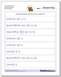 Fraction Worksheet Multiplication Worksheet 1 With Whole Numbers