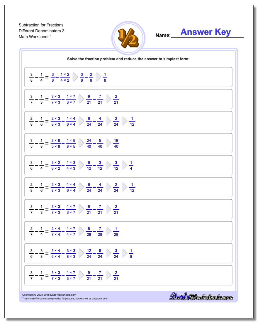 Different Denominators – Fractions with Unlike Denominators Worksheet
