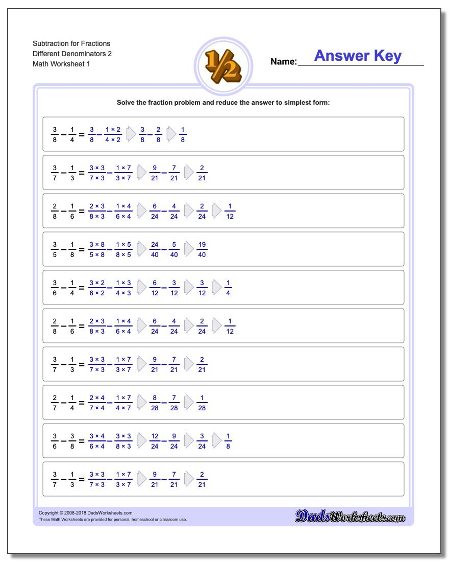 Different Denominators – Fraction Subtraction Worksheets