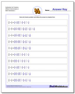 Subtraction Worksheet for Fraction Worksheets Different Denominators 2 www.dadsworksheets.com/worksheets/fraction-subtraction.html