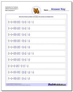 Subtraction Worksheet for Fraction Worksheets Different Denominators 2