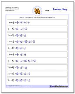 Subtracting Fraction Worksheets Subtraction Worksheet for Different Denominators 3