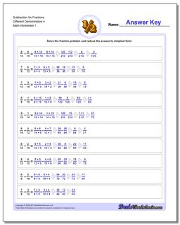 Subtracting Fraction Worksheets Subtraction Worksheet for Different Denominators 4