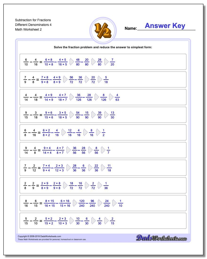 Subtraction Worksheet for Fraction Worksheets Different Denominators 4 www.dadsworksheets.com/worksheets/fraction-subtraction.html