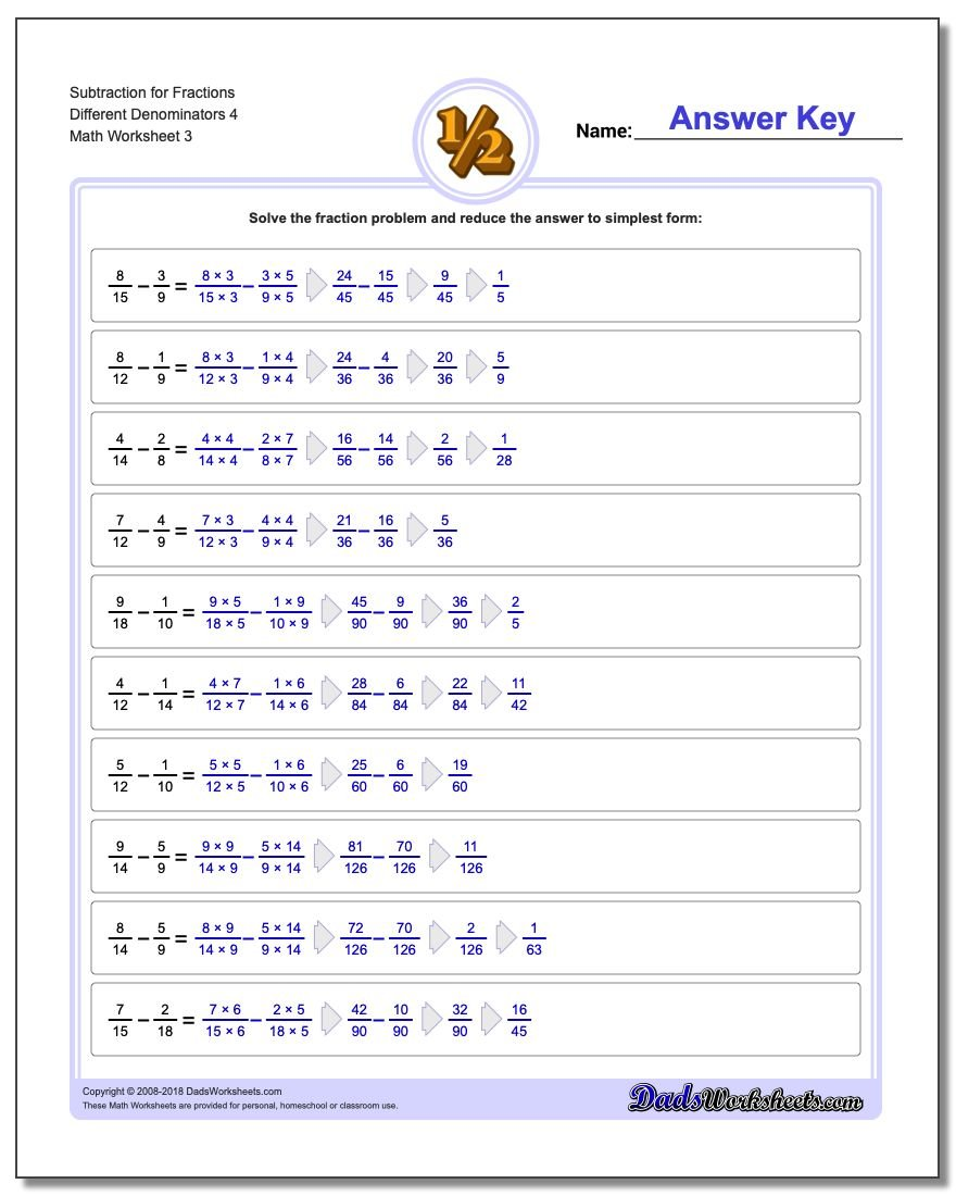Subtraction Worksheet for Fraction Worksheets Different Denominators 4