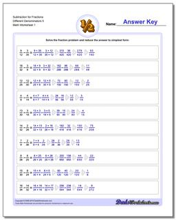 Subtracting Fraction Worksheets Subtraction Worksheet for Different Denominators 5