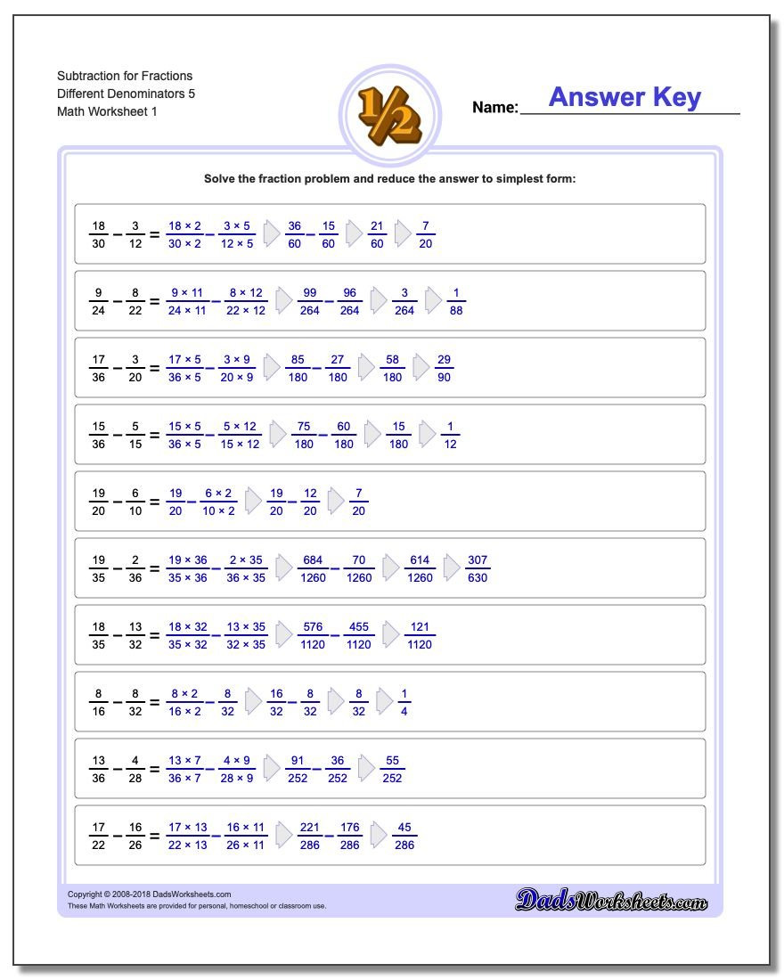 Different Denominators – Ordering Fractions with Different Denominators Worksheet