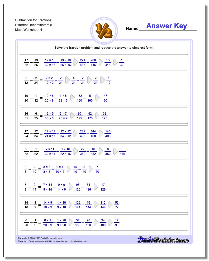 Subtraction Worksheet for Fraction Worksheets Different Denominators 5