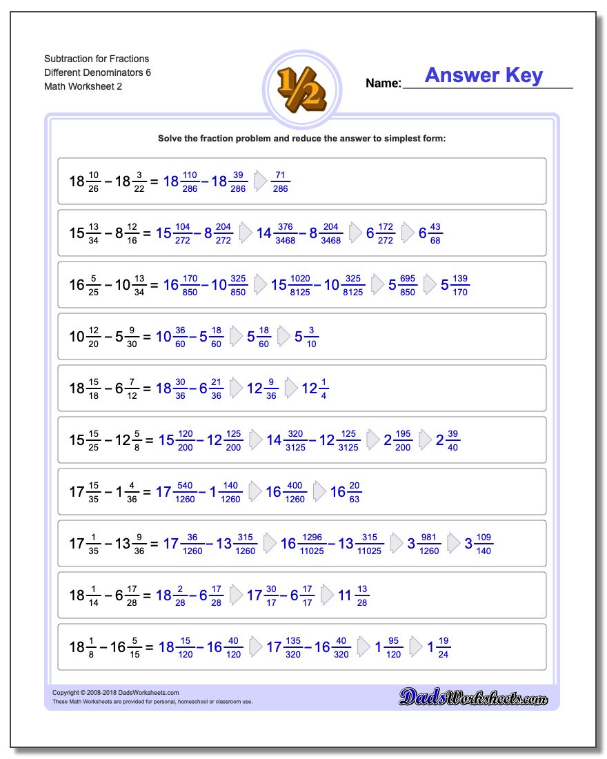 Subtraction Worksheet for Fraction Worksheets Different Denominators 6 www.dadsworksheets.com/worksheets/fraction-subtraction.html
