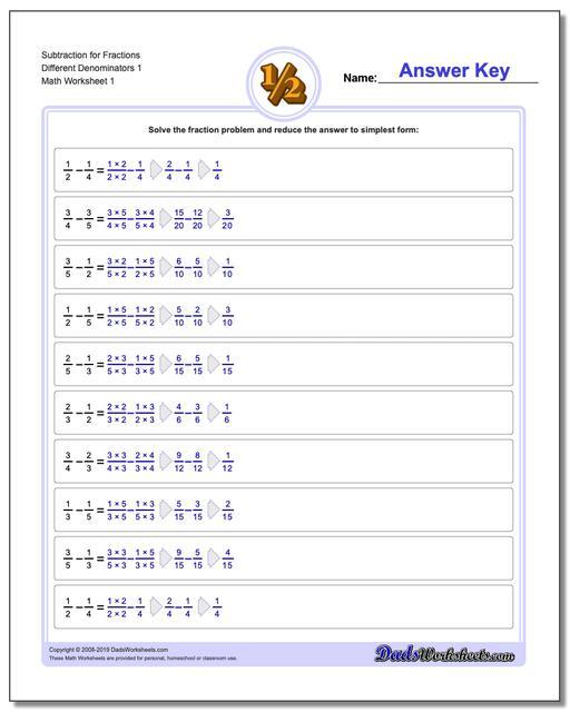 fraction subtraction  different denominators fraction worksheets subtraction worksheets