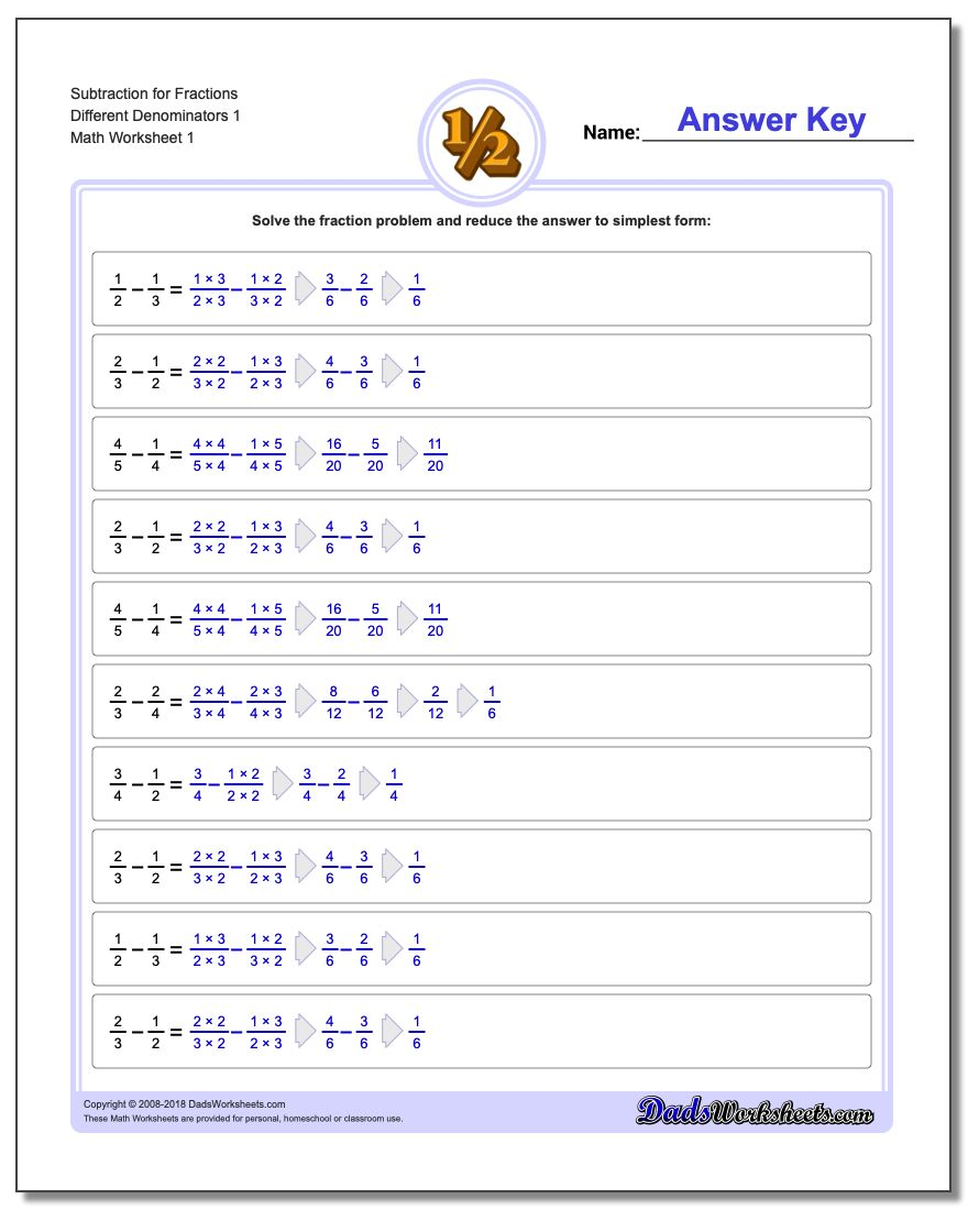 Fraction Subtraction – Adding and Subtracting Fractions with Different Denominators Worksheets