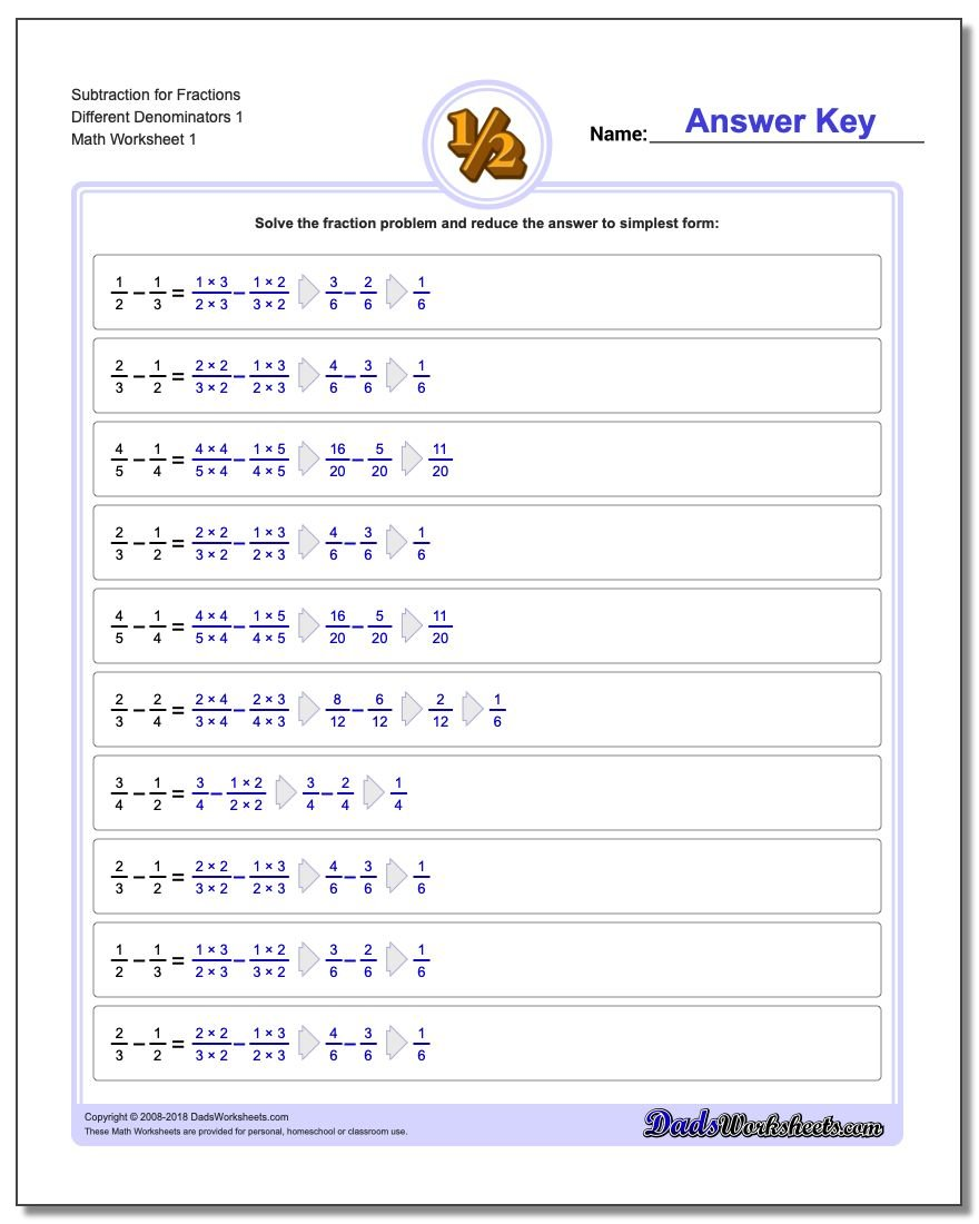Fraction Subtraction – Adding and Subtracting Fractions with Different Denominators Worksheet