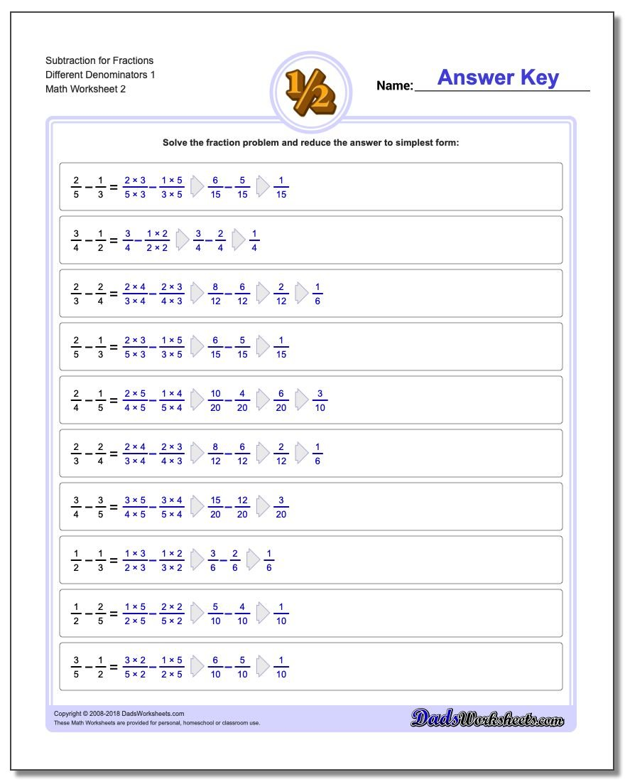 Subtraction Worksheet for Fraction Worksheets Different Denominators 1 www.dadsworksheets.com/worksheets/fraction-subtraction.html