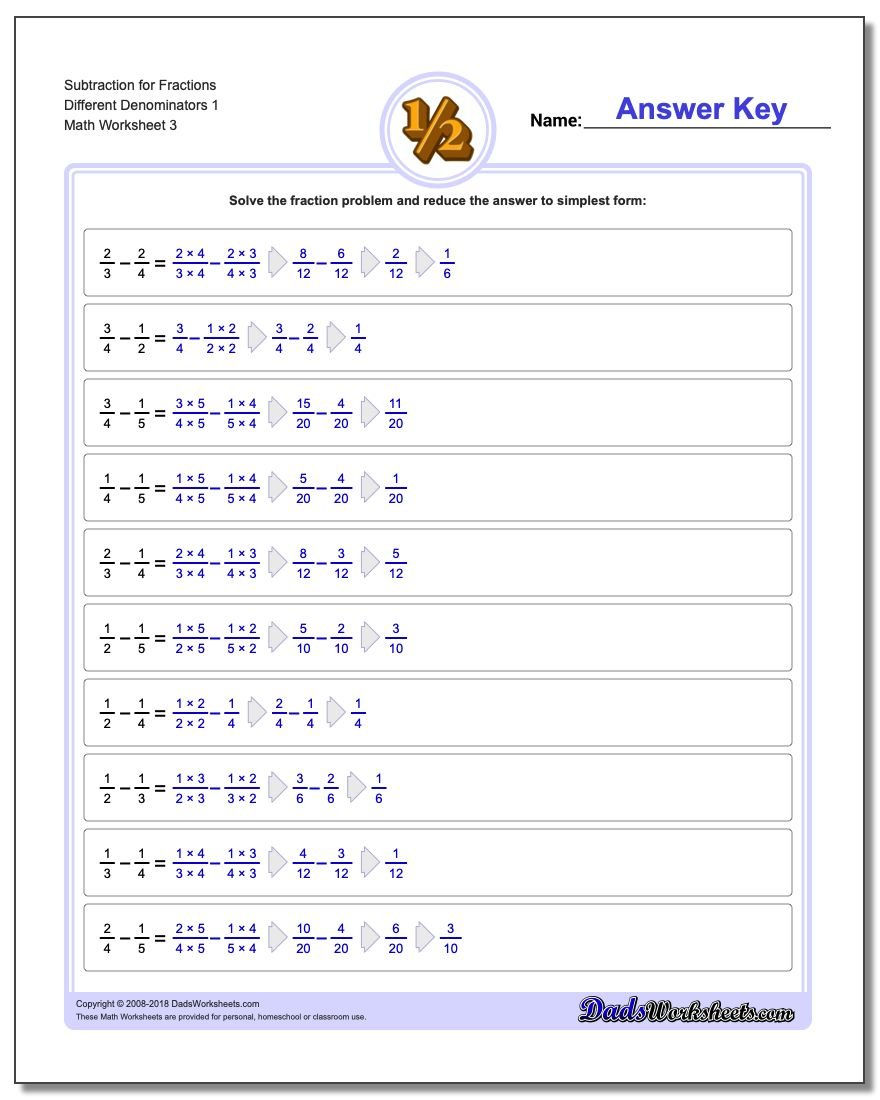 Subtraction Worksheet for Fraction Worksheets Different Denominators 1
