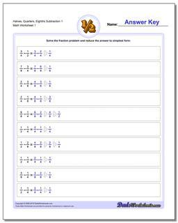 Halves, Quarters, Eighths Fraction Worksheet Subtraction Worksheet
