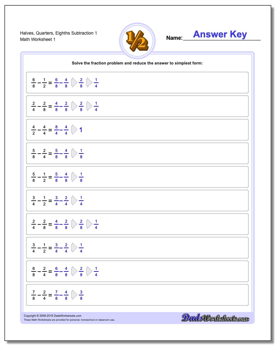 Fraction Subtraction – Adding and Subtracting Improper Fractions Worksheet