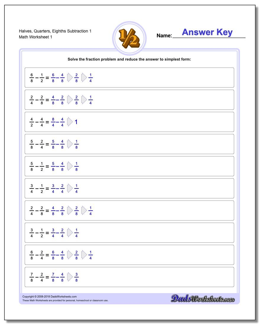 Subtraction – Subtracting Fractions Worksheets with Answers