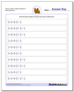 Halves, Quarters, Eighths Subtraction Worksheet 1