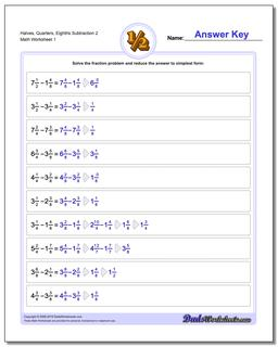 Halves, Quarters, Eighths Subtraction Worksheet 2 Subtracting Fraction Worksheets