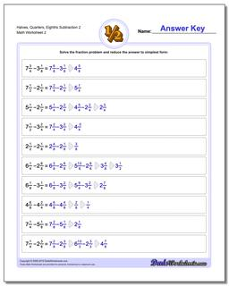 Halves, Quarters, Eighths Subtraction Worksheet 2 www.dadsworksheets.com/worksheets/fraction-subtraction.html