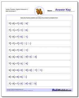 Halves, Quarters, Eighths Subtraction Worksheet 2