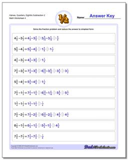 Halves, Quarters, Eighths Subtraction Worksheet 2
