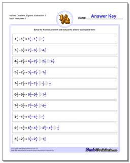Halves, Quarters, Eighths Subtraction Worksheet 3 Subtracting Fraction Worksheets