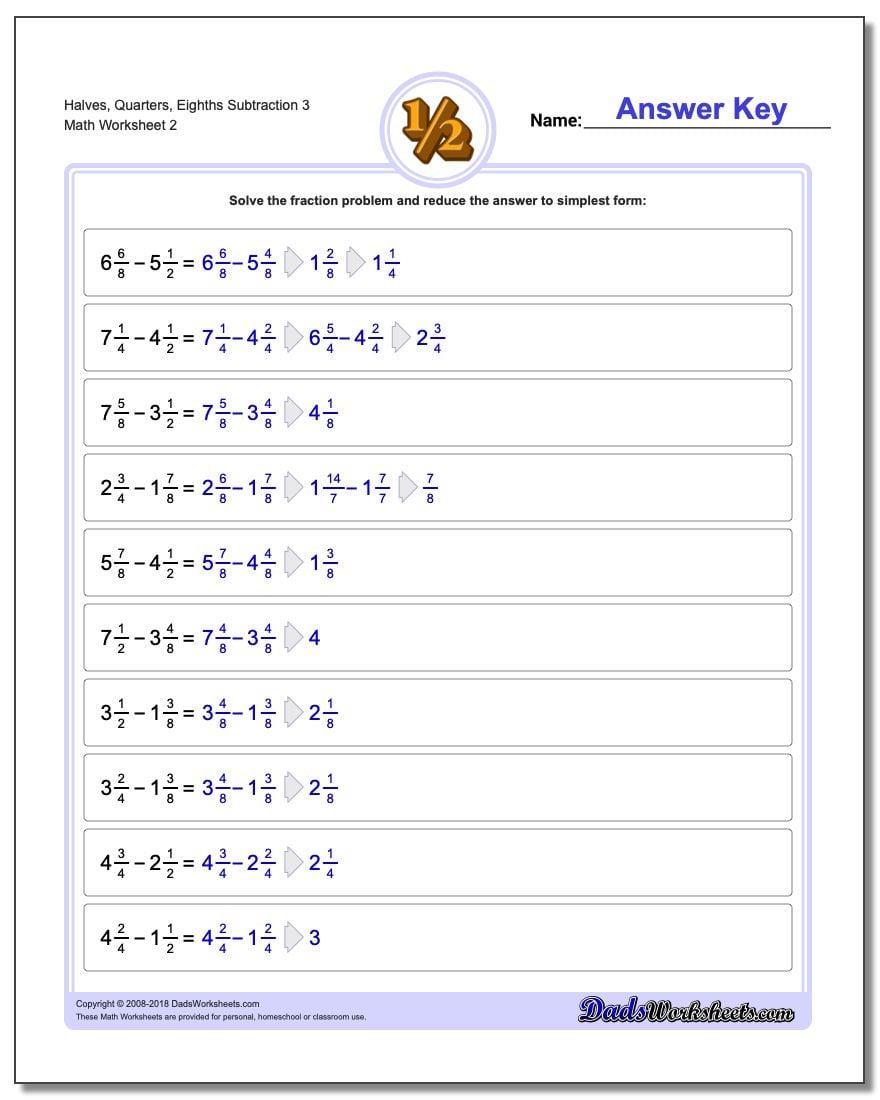 Halves, Quarters, Eighths Subtraction Worksheet 3 www.dadsworksheets.com/worksheets/fraction-subtraction.html