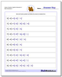 Halves, Quarters, Eighths Subtraction Worksheet 4 Subtracting Fraction Worksheets