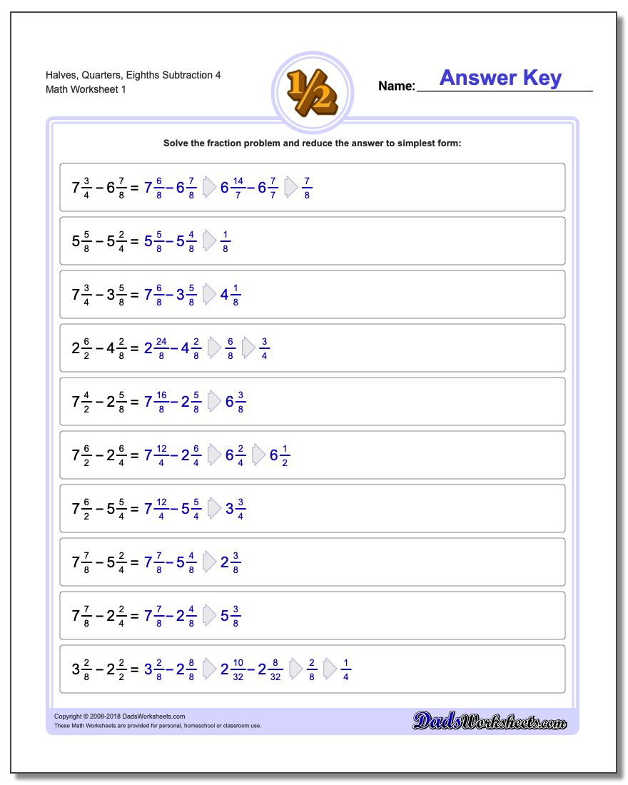 Dads worksheets fractions subtraction