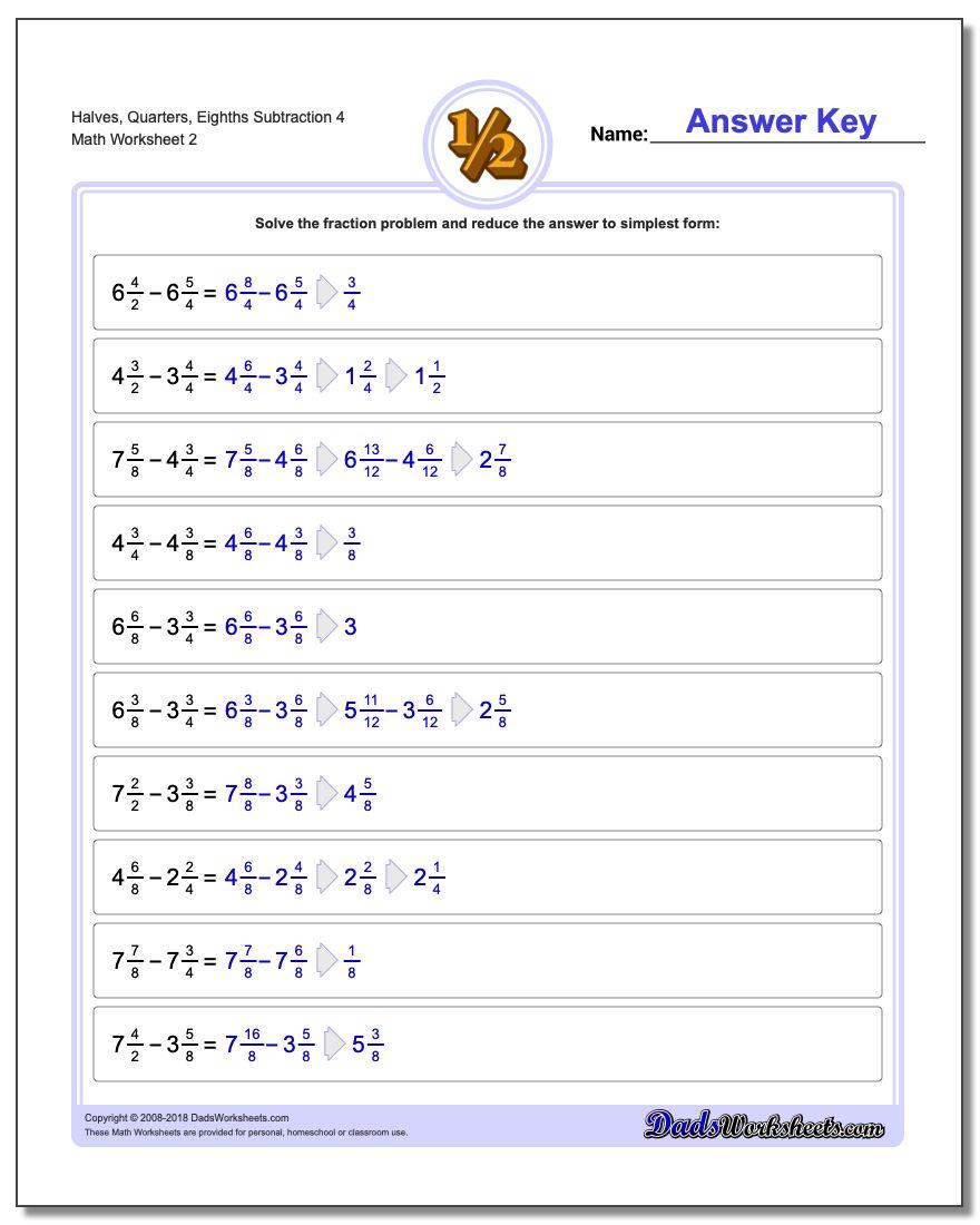Halves, Quarters, Eighths Subtraction Worksheet 4 www.dadsworksheets.com/worksheets/fraction-subtraction.html