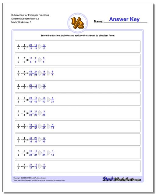Subtracting Fraction Worksheets Subtraction Worksheet for Improper Different Denominators 2